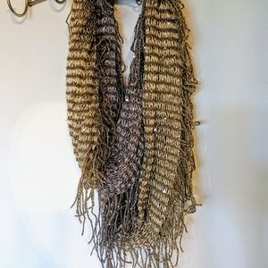 Silver and gold shimmer scarf. Warm and pretty!